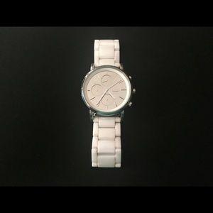 DKNY LEXINGTON WHITE CERAMIC+SILVER TONE watch